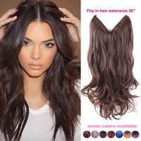 20'' Multi Color Fish Line Hair No Clips Hair Extension Brazilian Natural Wave Invisible Halo Synthetic Hair Extension Flip In