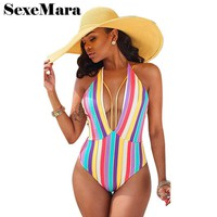 Color stripes print bodycon halter bodysuit summer v neck backless one piece jumpsuit beach rompers women sexy leotard D29-I64