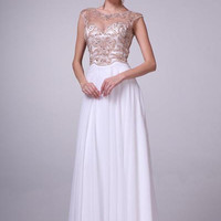 17-8716 PRIMA White Grecian Beaded Sheer Illusion Bridal Dress or Evening Gown