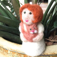 Cat lady gift for cat lover gift needle felted cat person crazy cat lady cat art pet lover needle felting cat felt cat lady needlefelt cute