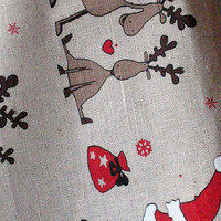 Linen Dish Towels Tea Towels Rudolf Reindeer Christmas Holiday