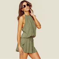 Green Halter Neck Backless Drawstring Dress With Pocket 11626