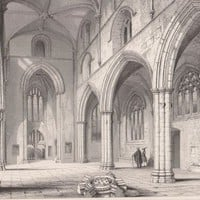 Antique Print St Michael's Church Linlithgow Church, Interior Looking West Scotland (A25) by Grandpa's Market