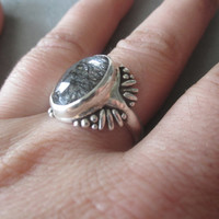One of a Kind Sterling Silver Tourmilated Quartz Ring