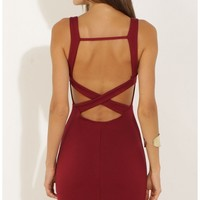 Party dresses > Sleeveless Bodycon Dress in Burgundy