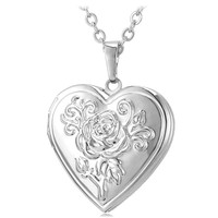 Gold/Silver Photo Locket Heart Pendant Charm 18K Real Gold Plated Necklace Valentine's Day Gift