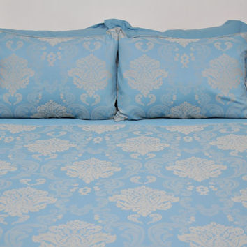 Jacquard Damask Bedding Set in Teal, Ocean Blue, Mint, for Queen or Full - Silky Soft Satin Bed Set of Duvet Cover, Sheet Pillowcases, Shams