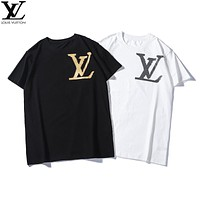 LV 2019 early spring new tide brand chest LOGO letter printing casual bottoming shirt