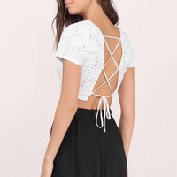 Counting Petals Lace Up Top