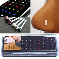 New 40pcs Colors Surgical Steel  Crystal Nose Stud Rings Body Piercing Jewelry (Size: 5cm by 11.8cm by 2cm) = 1945711108