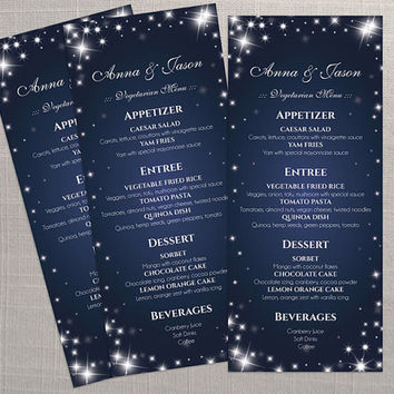 DIY Printable Wedding Menu Template | Editable MS Word file | 4 x 9.25 | Instant Download | New Years Heaven Sparkles Royal Navy Blue