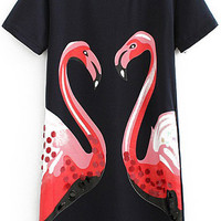 Black Short Sleeve Sequined Swan Print Straight Dress
