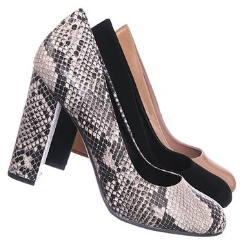 Living19 Chunky Block Heel - Women Slip On Sculpted Office Round Toe Shoes