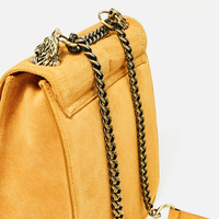 LEATHER CROSSBODY BAG WITH WOLF DETAIL