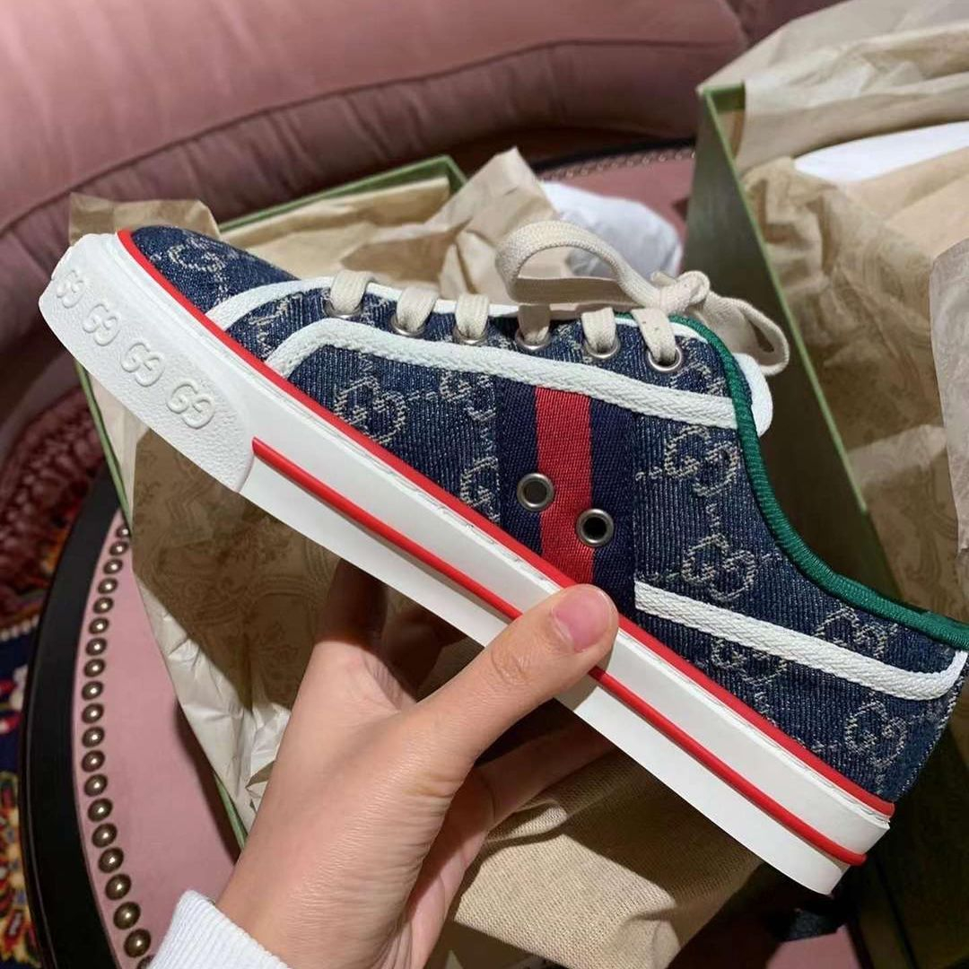 Image of GG Tennis 1977 Striped Jacquard Canvas Sneakers Shoes