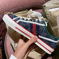 GG Tennis 1977 Striped Jacquard Canvas Sneakers Shoes