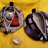 Pacifier Pouch Ear Bud Case Coin Purse Zipper Pouch Pods Doctor Who Tardis or Dalek Fabric Prints Adorable Pouch Pods Designs by Sugarbear