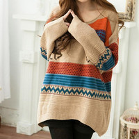 Sweater Cute Deer Patterns Color Block Stripes