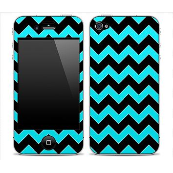 Black Chevron and Solid Turquoise Skin for the iPhone 3gs, 4/4s or 5