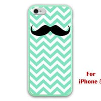 iPhone 5 Case, Chevron iphone 5 case, mint green checron, mustache graphic iphone 5 case