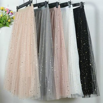 Korean Stars Sequined Puff Layered Tulle Tutu Long Skirts Spring Galaxy Mesh Starry Metallic Sweet Fairy Pleated Long Skirts