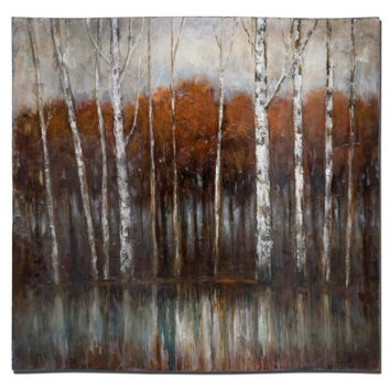 Landscape Wall Art - Birch Wood Tree Painting On Contoured Hardboard