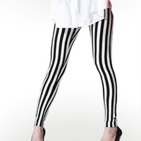 Black and White Striped Leggings : Comfortable Legging Pants