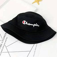 Champion Embroidery Round Bucket Hat Fisherman Cap Black