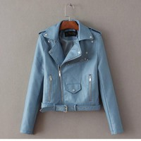 VA Candy Color Faux Leather Jacket