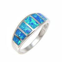 925 Sterling Silver Rhodium Women Men Blue Opal Ring Size 5-10