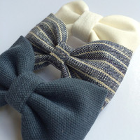 Winter white, blue striped linen, and textured blue hair bow set from Seaside Sparrow. These hair bows make a perfect gift for her.