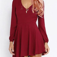 Wine Red Cut Out Long Sleeve Pleated Dress