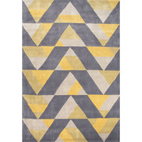 Jaipur Rugs Modern Geometric Pattern Gray/Yellow Polyester Area Rug FN32 (Rectangle)