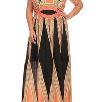 Plus Size Jenna Geometric Print Maxi Dress