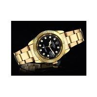 Rolex three-edged belt stylish gear case trend plate with a small drill F-SBHY-WSL Gold wristband + black dial