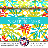 Custom Wrapping Paper Retro Flower Power Pattern | Custom Gift Wrap In Two Sizes Great For Any Occasion. Made In The USA
