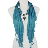 Fashion Triangle Style with Heart Bead Sky-clearing Blue Jewelry Scarves , Nl-1802b:Amazon:Clothing
