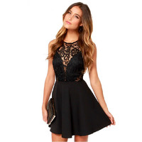 Fashion 2015 See-through Backless Sexy Mini Party Dresses Women Summer Style Sleeveless Tank Black Elegant Lace Dress