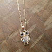 Gold Rhinestone Owl Necklace   Candy's Cottage