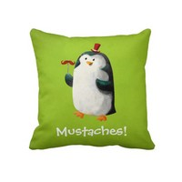 Cute Penguin with Mustaches Throw Pillow from Zazzle.com