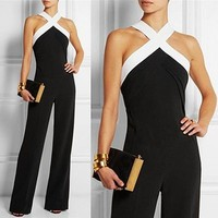 Women's Long Criss Cross Halter Off Shoulder Jumpsuit Romper
