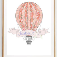Custom Name Sign Print Personalized Gift Hot Air Balloon Printable Home Decor Wall Print Girls Room Nursery Art Digital Download Photo