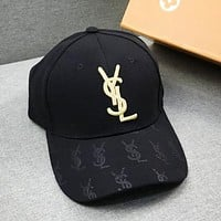 YSL Fashion New Embroidery Gold Letter Women Men Sunscreen Travel Cap Hat Black
