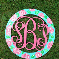 18 Wood circle script monogram Lilly by forpetessakepottery