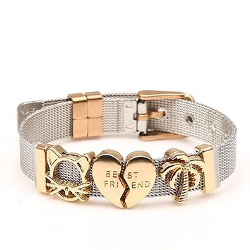 Two-tone Stainless Steel Mesh Bracelets
