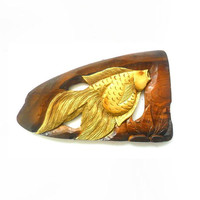 """Natural Teak Wood Carving Gold Fish Wall Hanging Art Home Decor Wooden Hand Carved / Gift 18.75""""X8.5"""""""