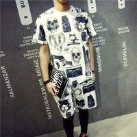 Summer 3D Pattern Cotton Men's Fashion Short Sleeve T-shirts Korean Beach Sleeves [6541156163]