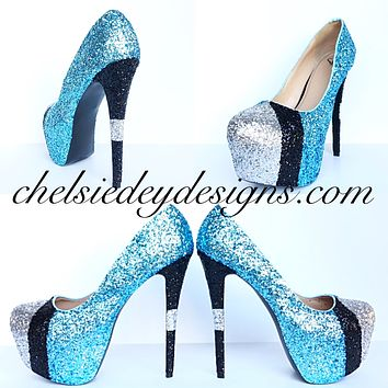 Carolina Panthers Glitter Platform Pumps, Something Blue Wedding Shoes