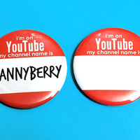 YouTube Channel Name Tag 2.25 inch Pinback Button