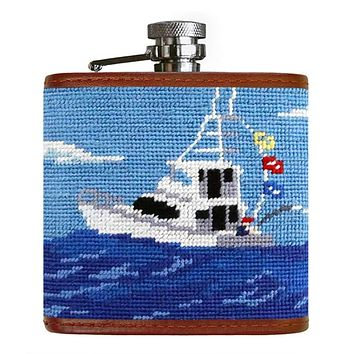 Offshore Fishing Needlepoint Flask by Smathers & Branson